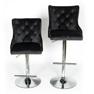 Enrique Height Adjustable Swivel Bar Stool (Set Of 2) By Rosalind Wheeler