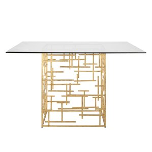 Abstract Dining Table with Glass Top by W..