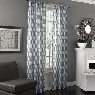 Scalzo Geometric Sheer Rod Pocket Single Curtain Panel