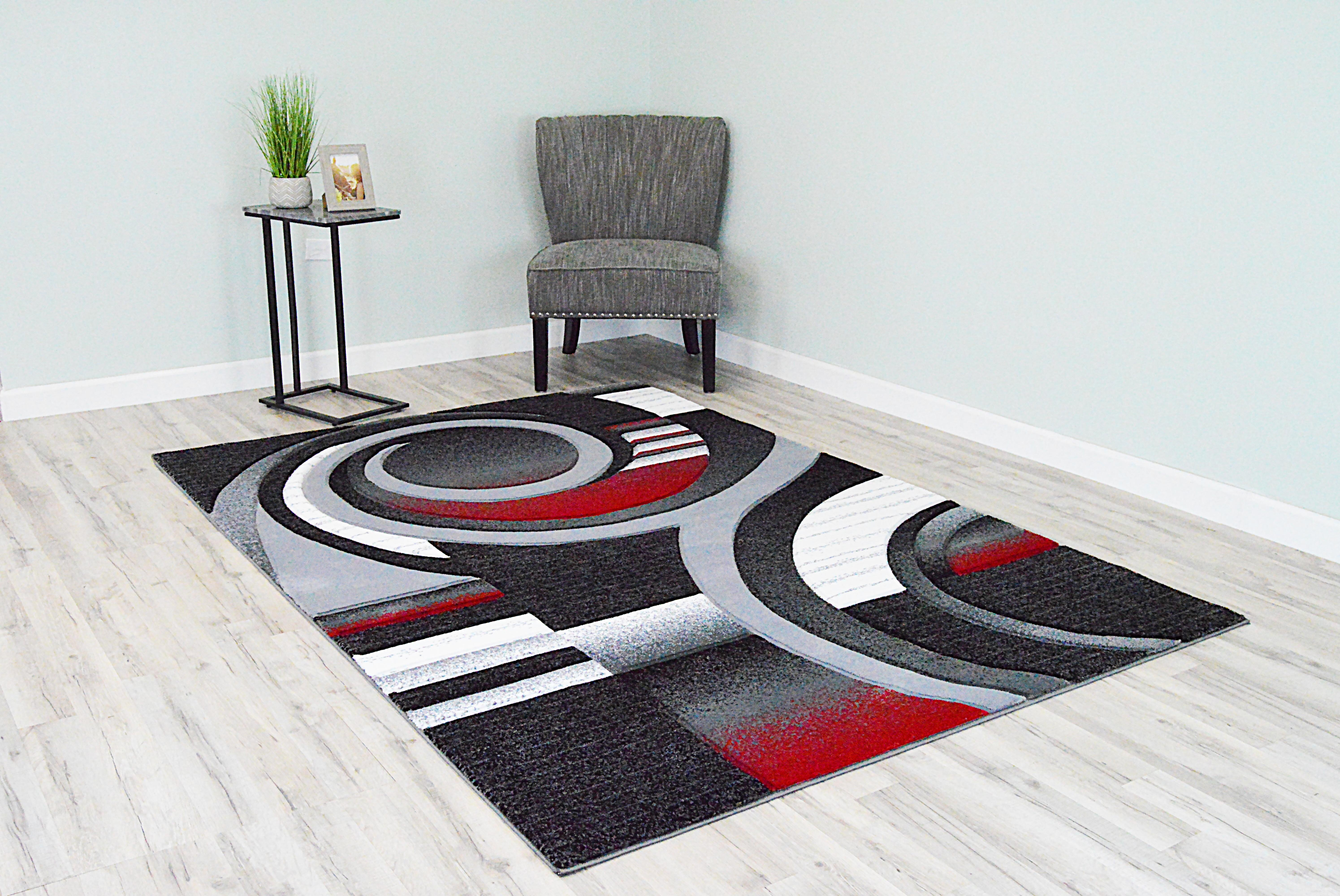 Ivy Bronx Mccampbell Abstract Gray Red Black Area Rug Reviews Wayfair