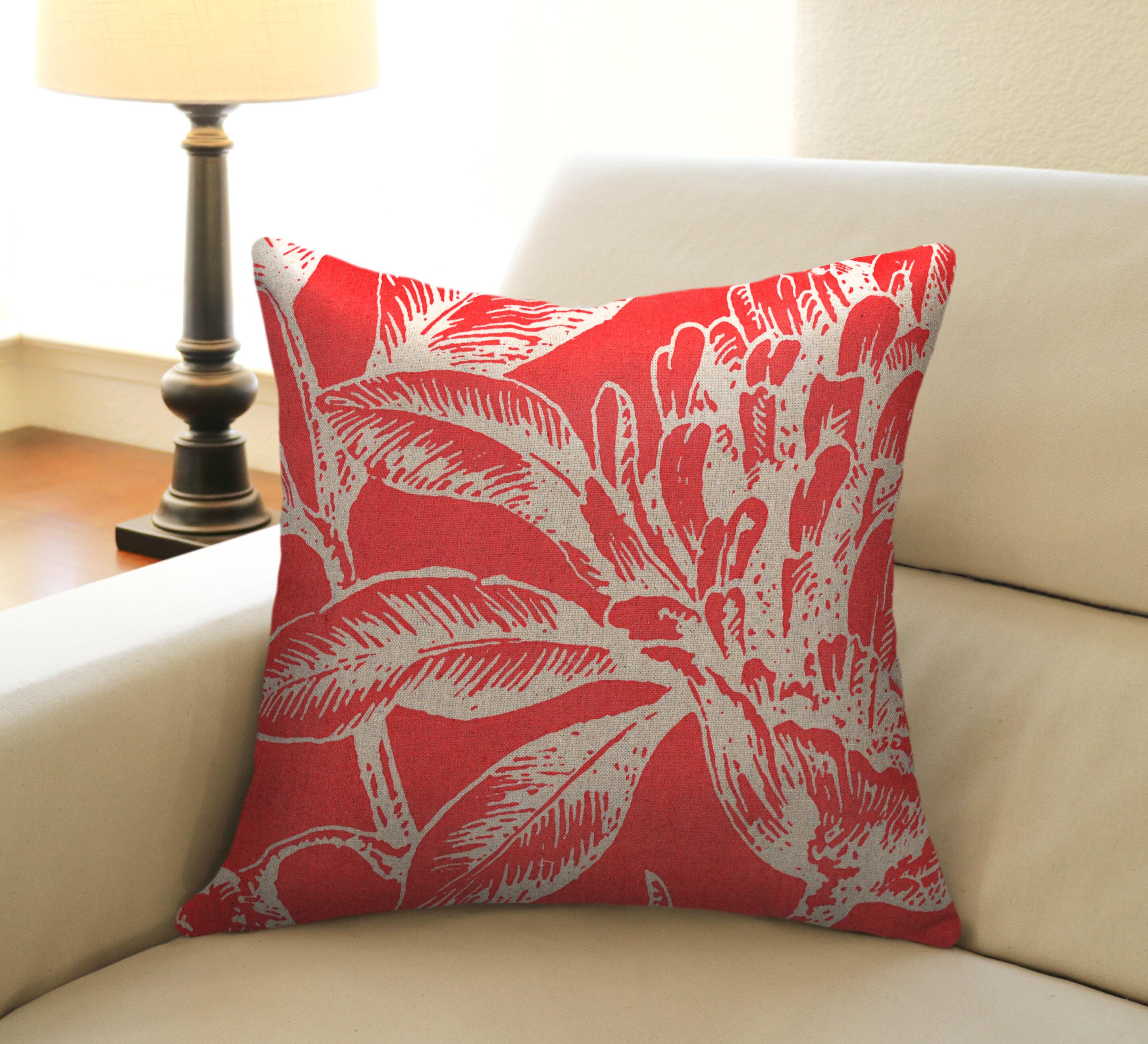 Bay Isle Home Jasiah Coral Botanical Linen Throw Pillow Reviews Wayfair