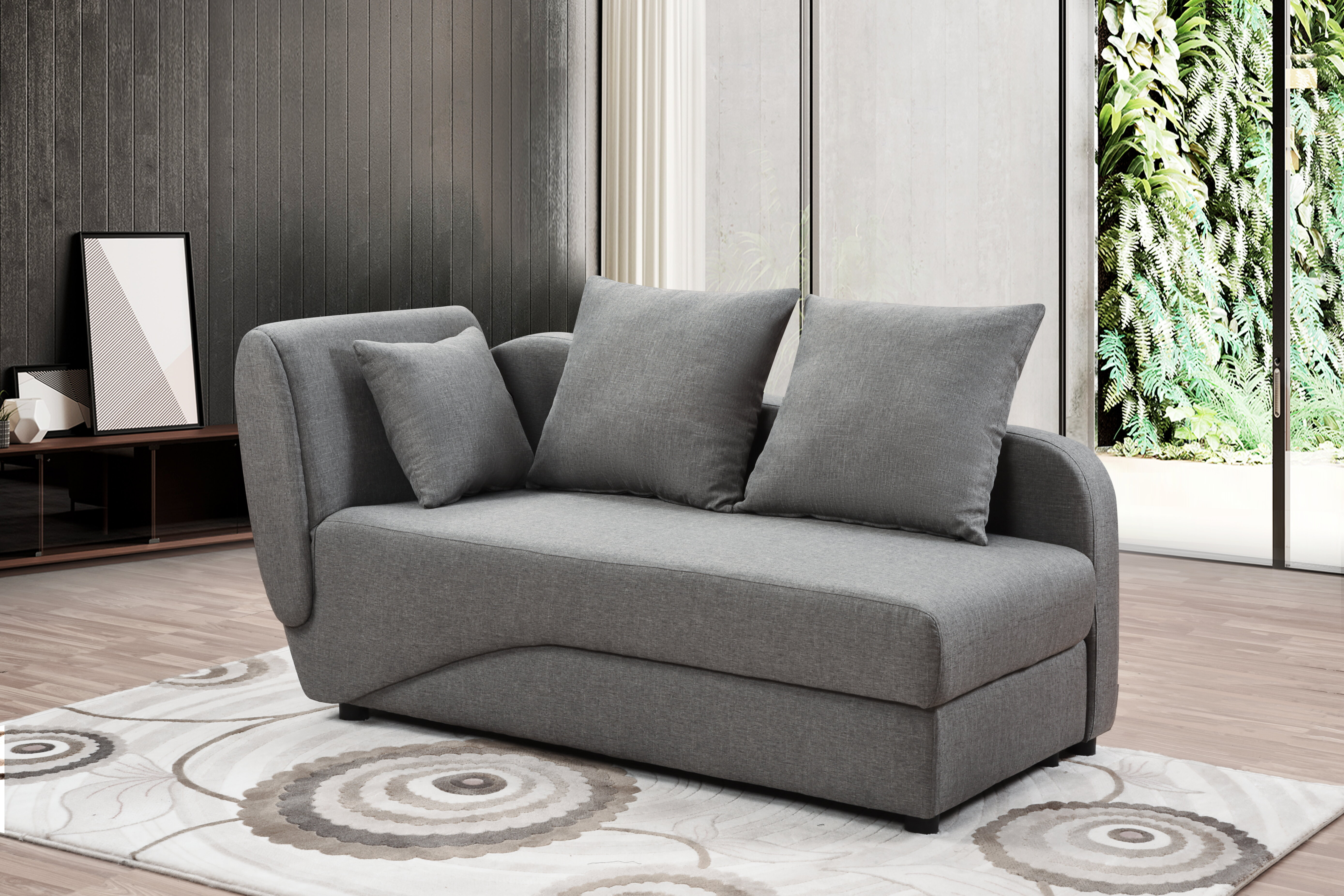 Latitude Run Light Grey Convertible Chaise Lounge Sofa Bed With Storage Wayfair Ca