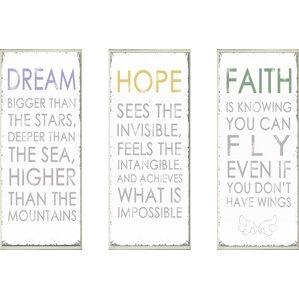 dream hope faith 3 piece textual art wall plaque set
