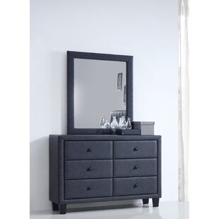 Bodnar 6 Drawer Double Dresser with Mirror