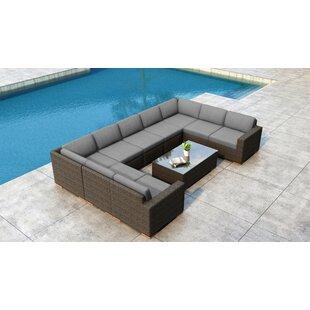 Everly Quinn Glen Ellyn 10 Piece Sectional Set with Sunbrella Cushion