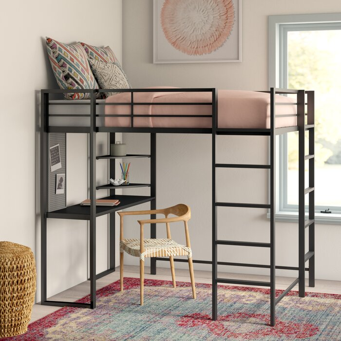 Aime Twin Loft Bed with Bookcase