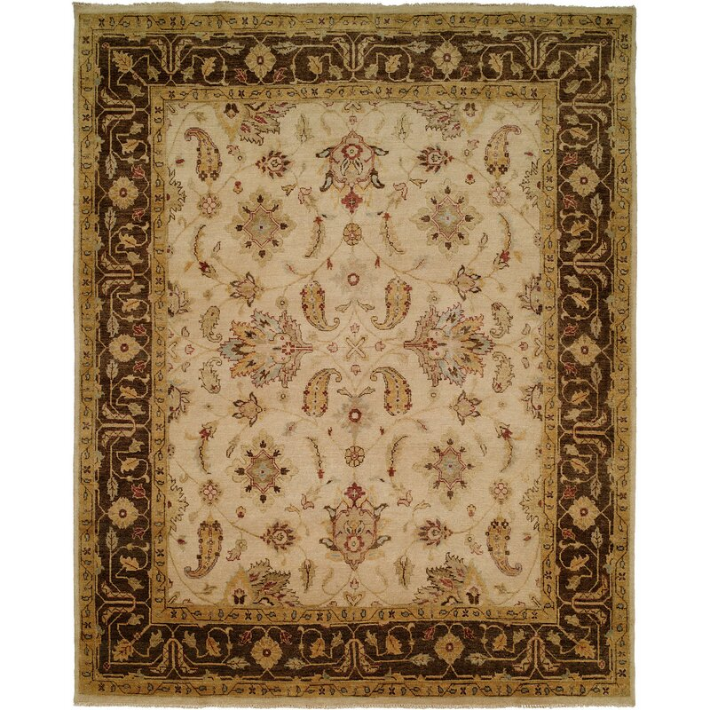 Wildon Home Oriental Hand Knotted Wool Ivory Brown Area Rug Wayfair