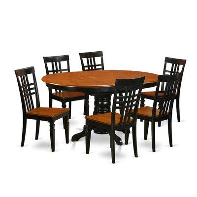 Emmaline 7 Piece Extendable Solid Wood Dining Set Alcott Hill Color: Black/Cherry
