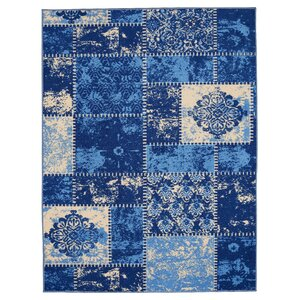 Anne Patchwork Blue/Ivory Area Rug
