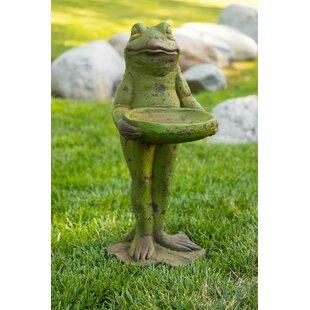 Alpine Frog with Statue Birdbath