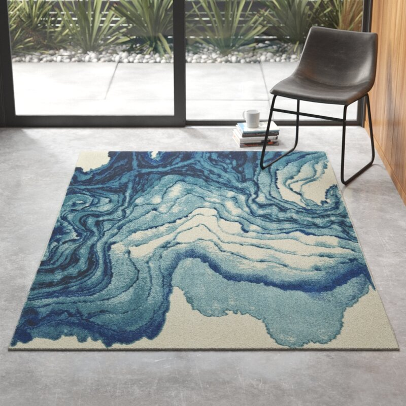 Zipcode Design Stuart Abstract Blue Area Rug Reviews Wayfair