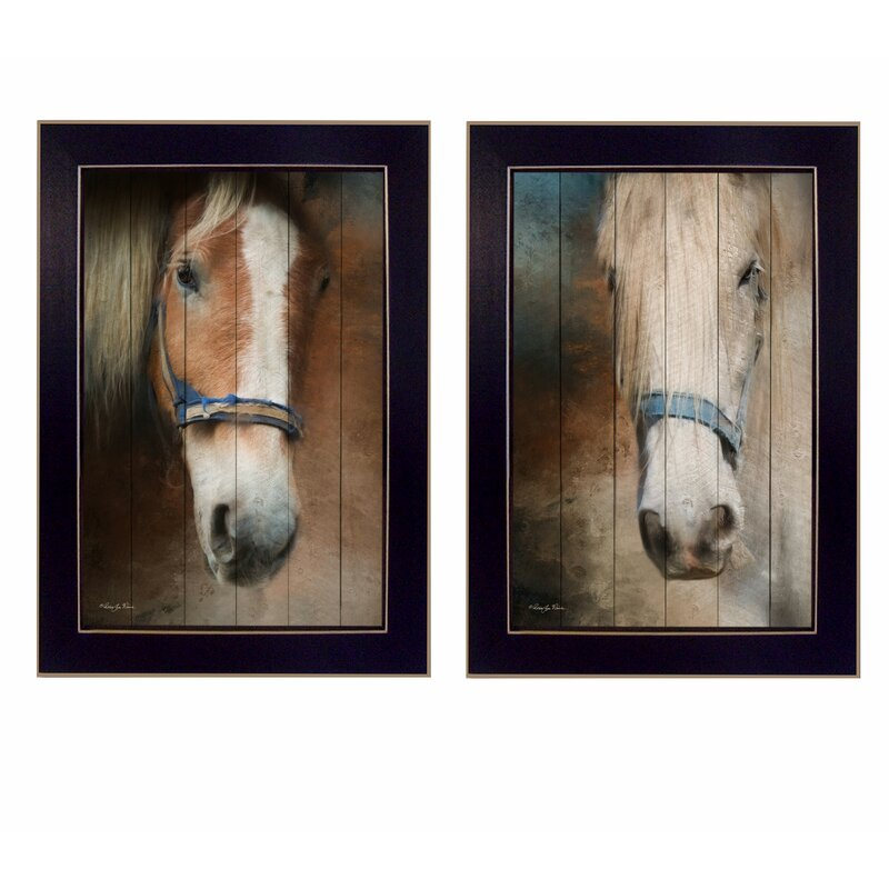 Gracie Oaks Two Horses 2 Piece Picture Frame Graphic Art Print Set On Paper Reviews Wayfair
