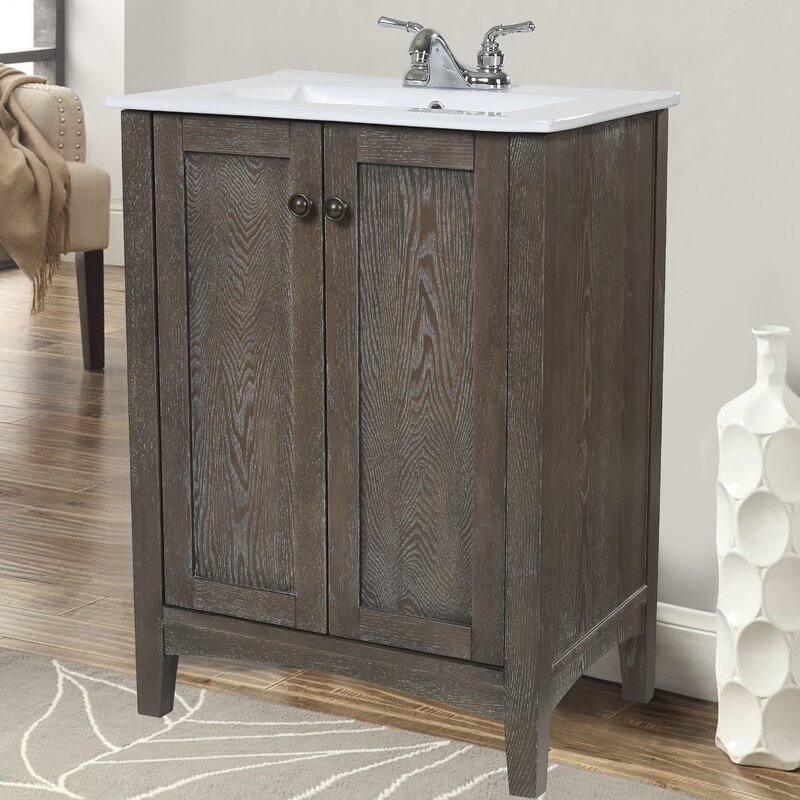 "charlton home jeremiah 24"" single bathroom vanity set & reviews"