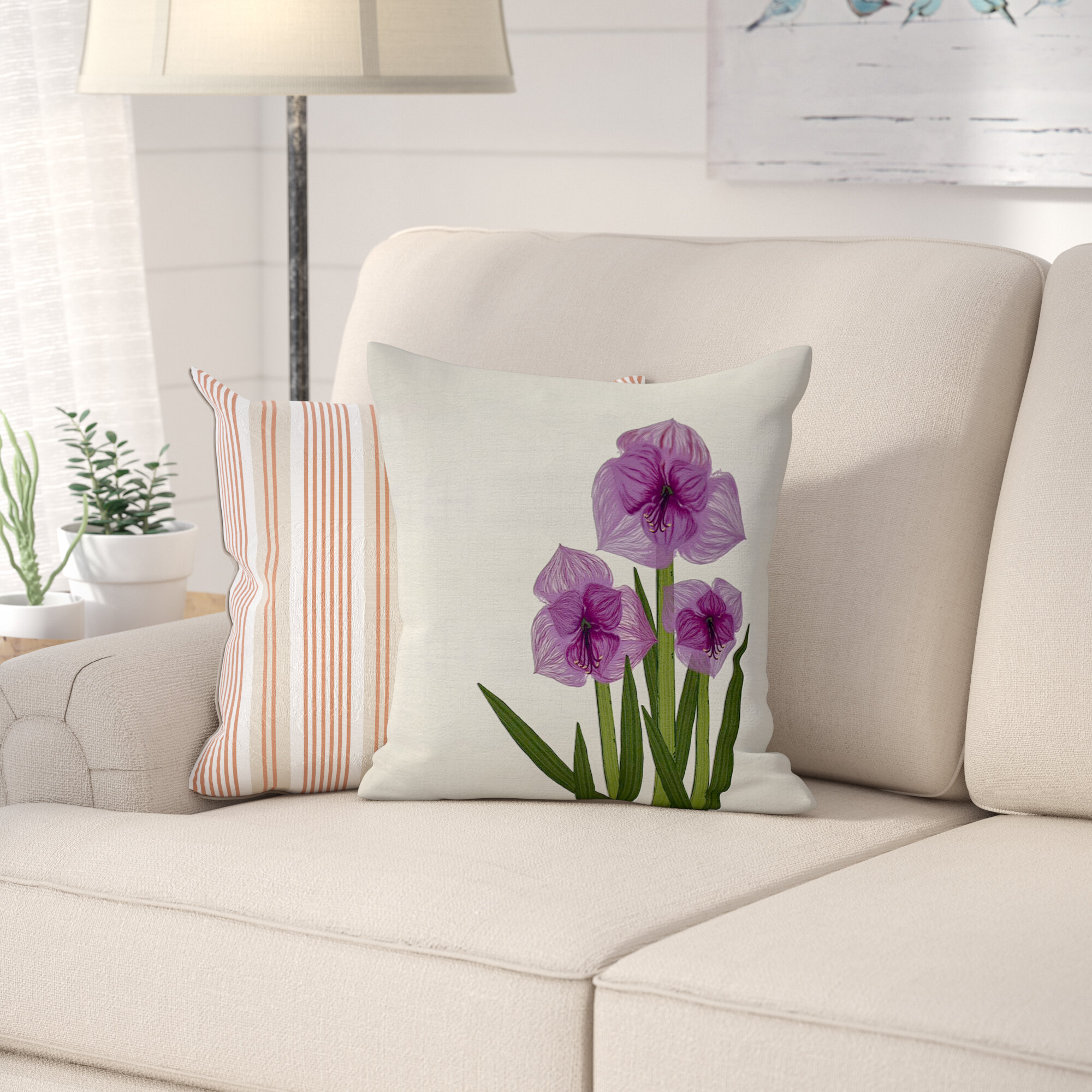August Grove Amaryllis Square Pillow Cover Insert Reviews Wayfair