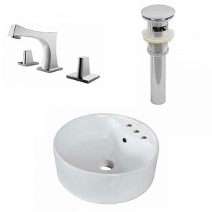 Buy clear Ceramic Circular Vessel Bathroom Sink with Faucet and Overflow ByRoyal Purple Bath Kitchen