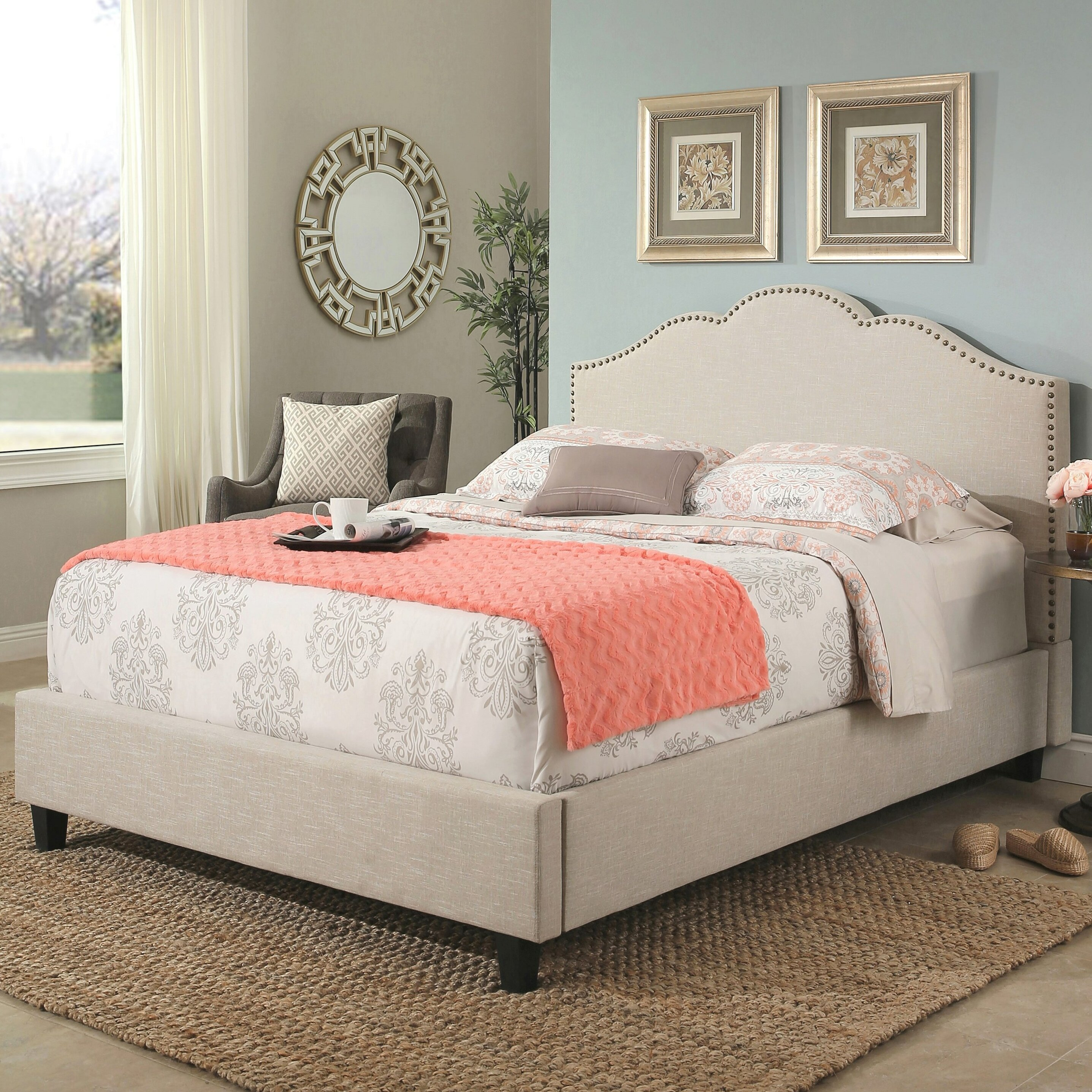 Andover Mills Deerfield Upholstered Wood Frame Panel Bed Reviews Wayfair