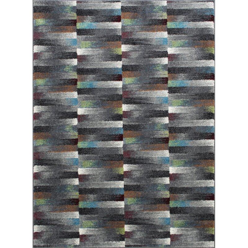 Wrought Studio Deloris Stacked Geometric Gray Area Rug Wayfair