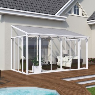 Palram Sanremo Enclosure 10 Ft. W x 18 Ft. D Aluminum Wall Mounted Patio Gazebo