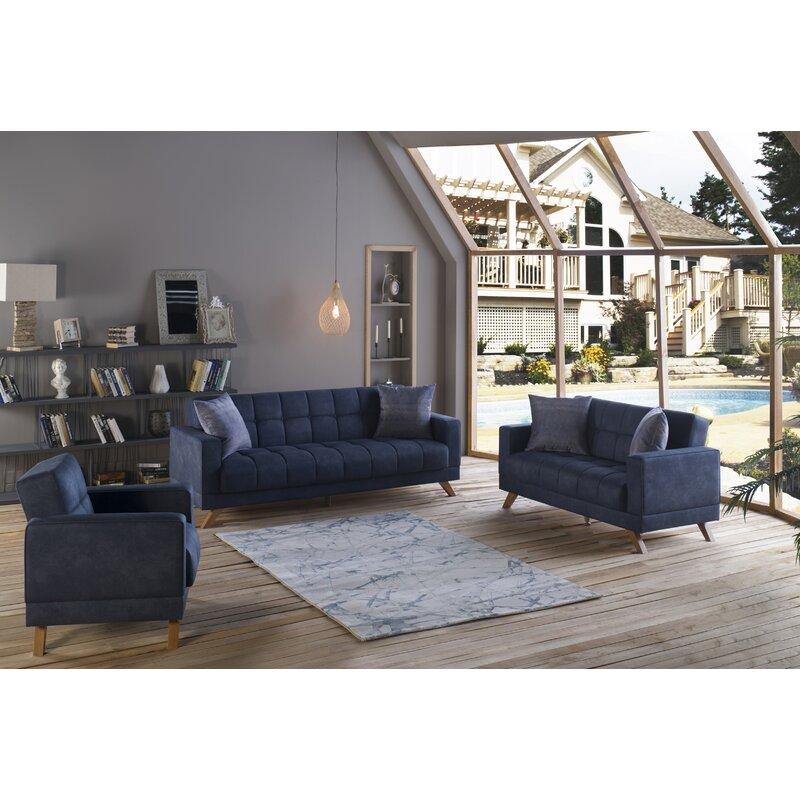 Corrigan Studio Olguin 3 Piece Sleeper Living Room Set Wayfair