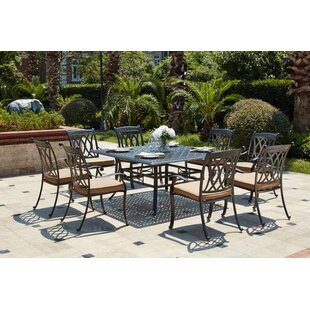 Astoria Grand Melchior Traditional 9 Piece Rectangular Dining Set with Cushions
