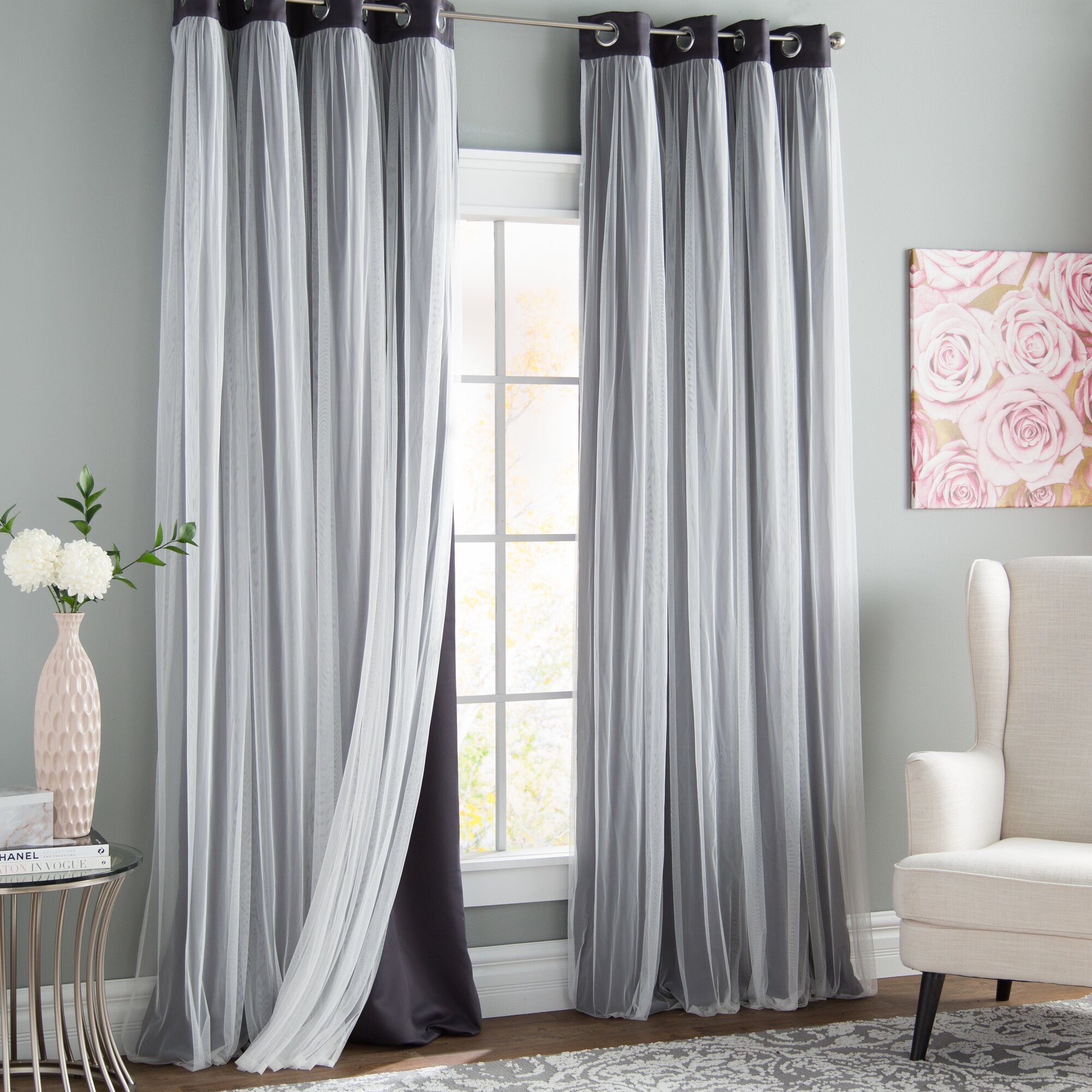 Brockham Solid Color Room Darkening Grommet Curtain Panels (Set of 2)