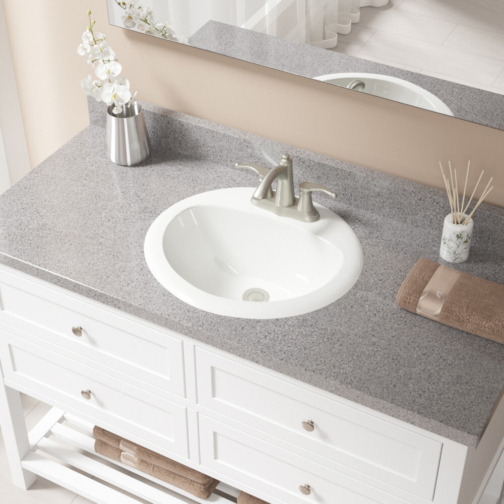 Vitreous China Oval Drop-In Bathroom Sink with Overflow