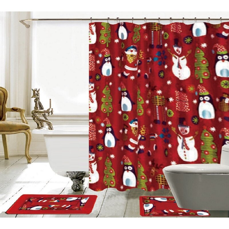The Holiday Aisle 15 Piece Christmas Shower Curtain Set & Reviews ...