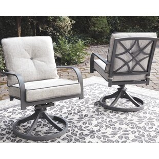 Anguiano Swivel Patio Chair with Cushions (Set of 2)