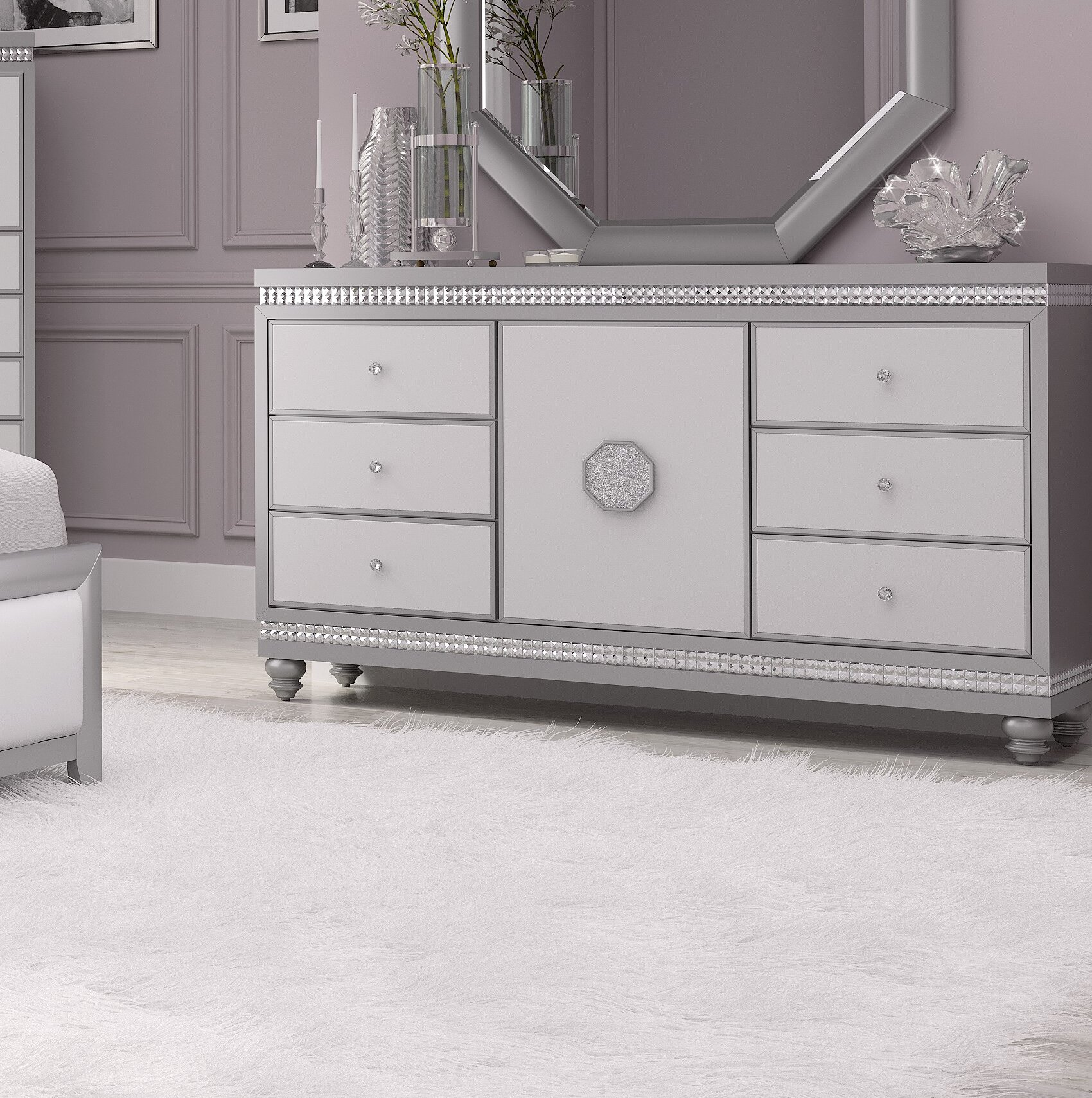 House Of Hampton Mauch 6 Drawer Double Dresser With Mirror Reviews Wayfair