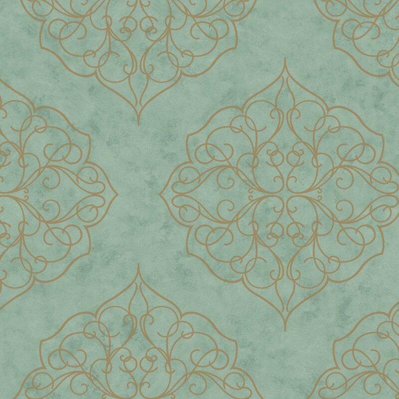 "Kashmir 27' x 27"" Rose Window Floral Wallpaper"