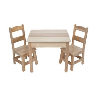 Budget Wooden 3 Piece Rectangular Table and Chairs Set By Melissa & Doug