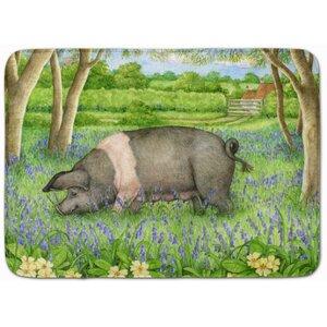 Jonah Pig in Bluebells by Debbie Cook Memory Foam Bath Rug