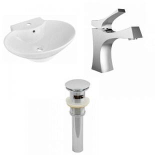 Deals Ceramic 23 Wall-Mount Bathroom Sink with Faucet and Overflow By Royal Purple Bath Kitchen