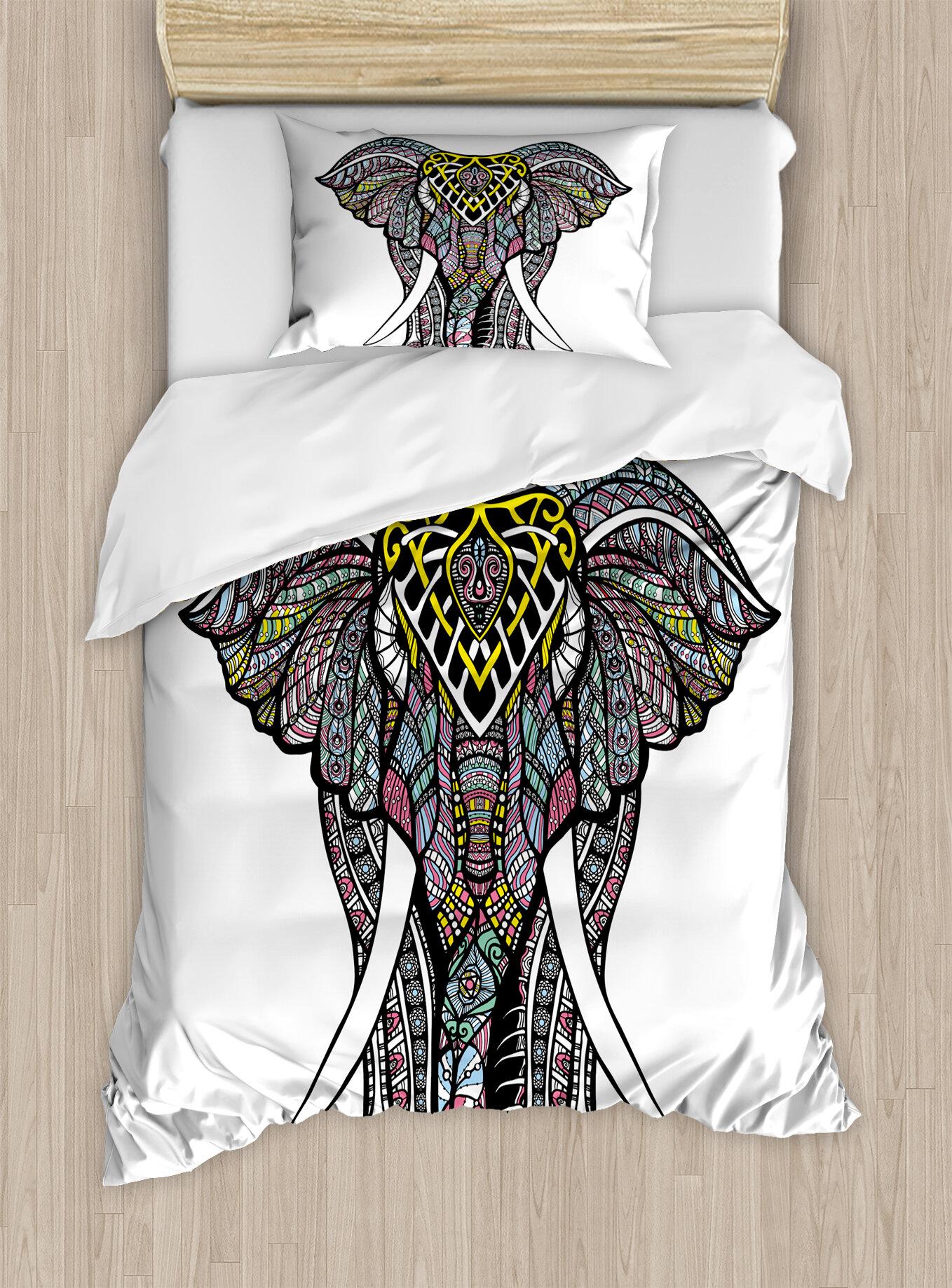 elephant mandala sacred symbol of strength spirit animal indian religion bohemian design duvet cover set