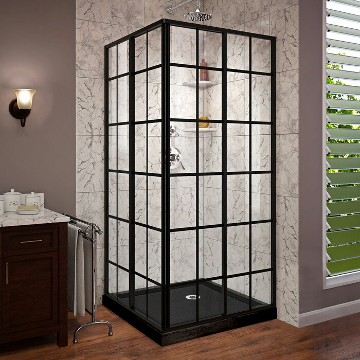 French Corner 36 X 74 75 Square Sliding Shower Enclosure With Base Included
