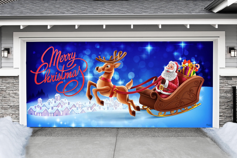 The Holiday Aisle Santa Sleigh Reindeer Car Garage Door Mural Wayfair Ca