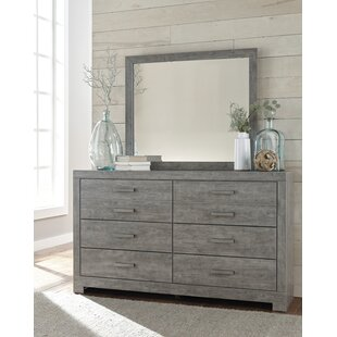 Affordable Price Rosen 6 Drawer Double Dresser with Mirror by Beachcrest Home