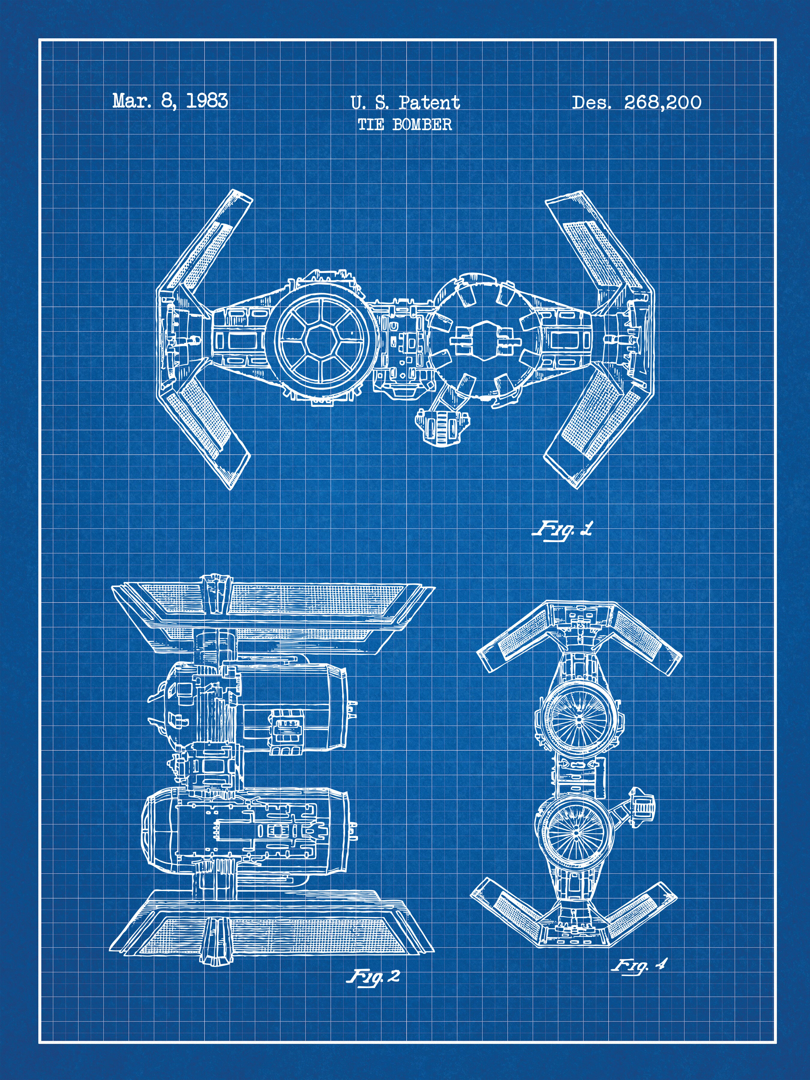 Inked and screened star wars tie bomber blueprint graphic art wayfair malvernweather Image collections
