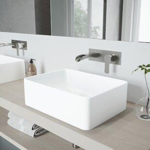 Inexpensive Amaryllis Stone Rectangular Vessel Bathroom Sink with Faucet By VIGO