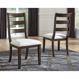Perei Upholstered Ladder Back Side Chair in Brown (Set of 2) by Charlton Home®