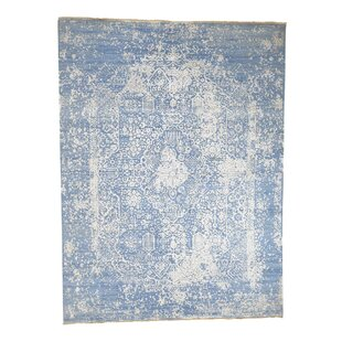 One-of-a-Kind Hardage Abstract Hand-Knotted Silk Blue Area Rug ByBungalow Rose