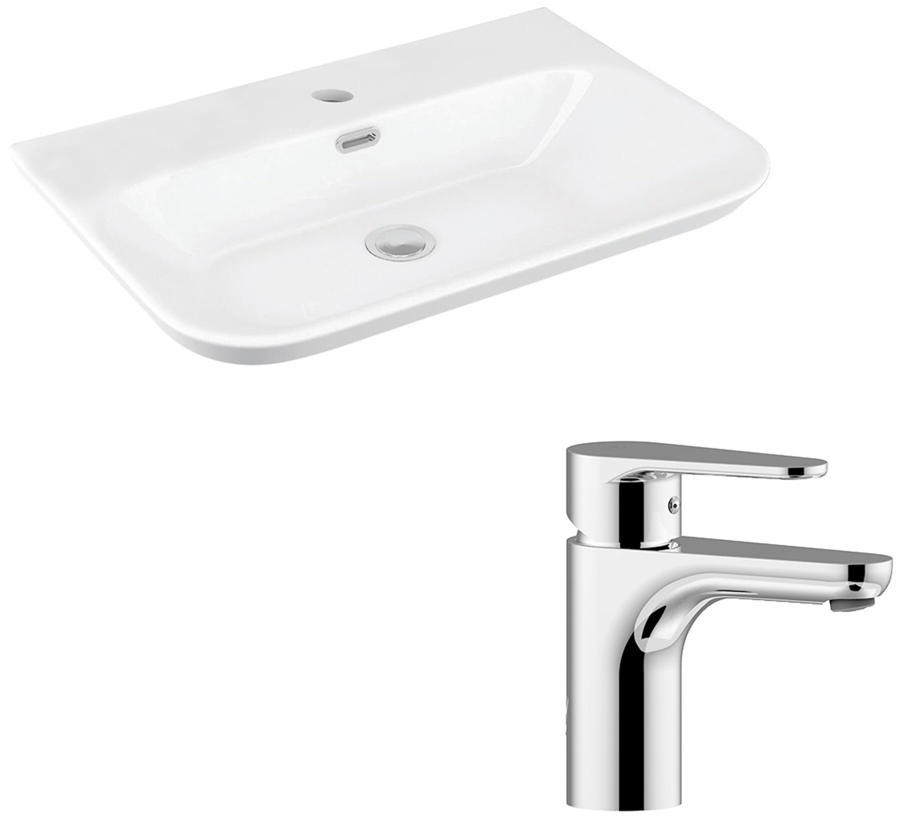 Ws Bath Collections Edge Ceramic Ceramic U Shaped Vessel Bathroom Sink With Faucet And Overflow Wayfair
