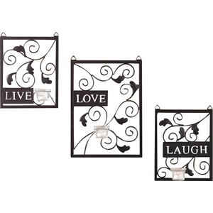 Live Love Laugh 3 Piece Black Wall Du00e9cor Set
