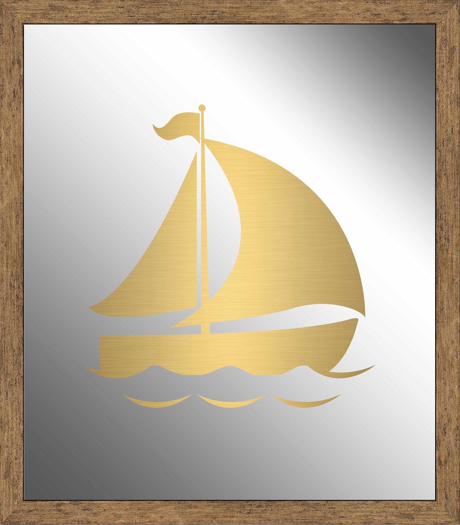 Ptm Images Boat I Silkscreened Mirror Framed Graphic Art Wayfair