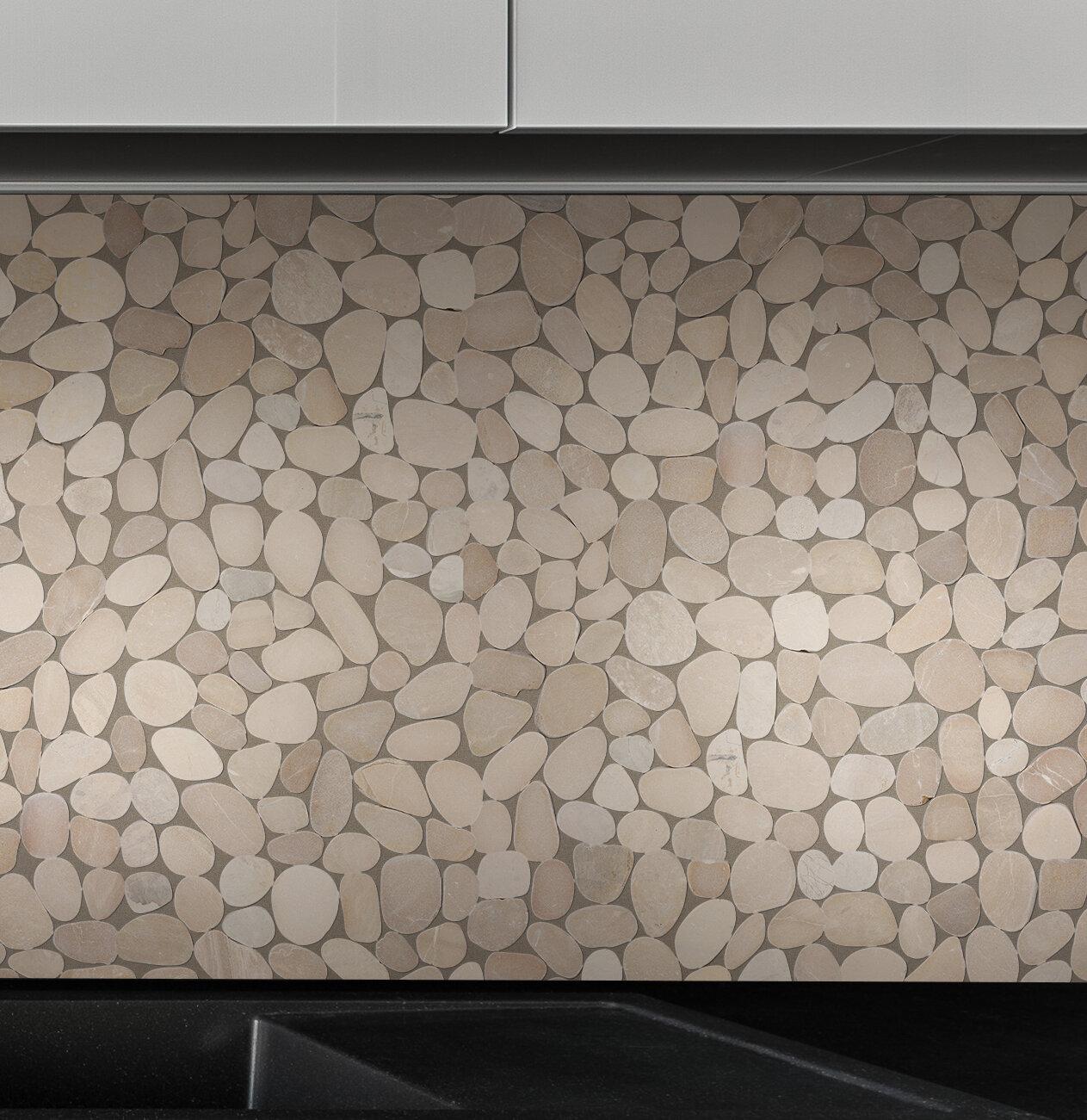 Pebble tile sliced pebble random sized natural stone pebble tile reviews wayfair