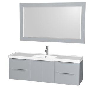Best Reviews Murano 60 Single Gray Bathroom Vanity Set with Mirror By Wyndham Collection