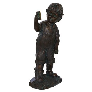 Boy With Cell Phone Garden Statue