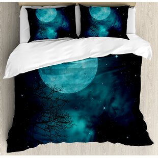 East Urban Home Space Moon on Starry Sky Universe Cosmos Themed Mystical Twilight Celestial Scenery Duvet Set