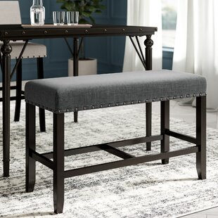 Haysi Counter Height Upholstered Bench with Nailhead Trim