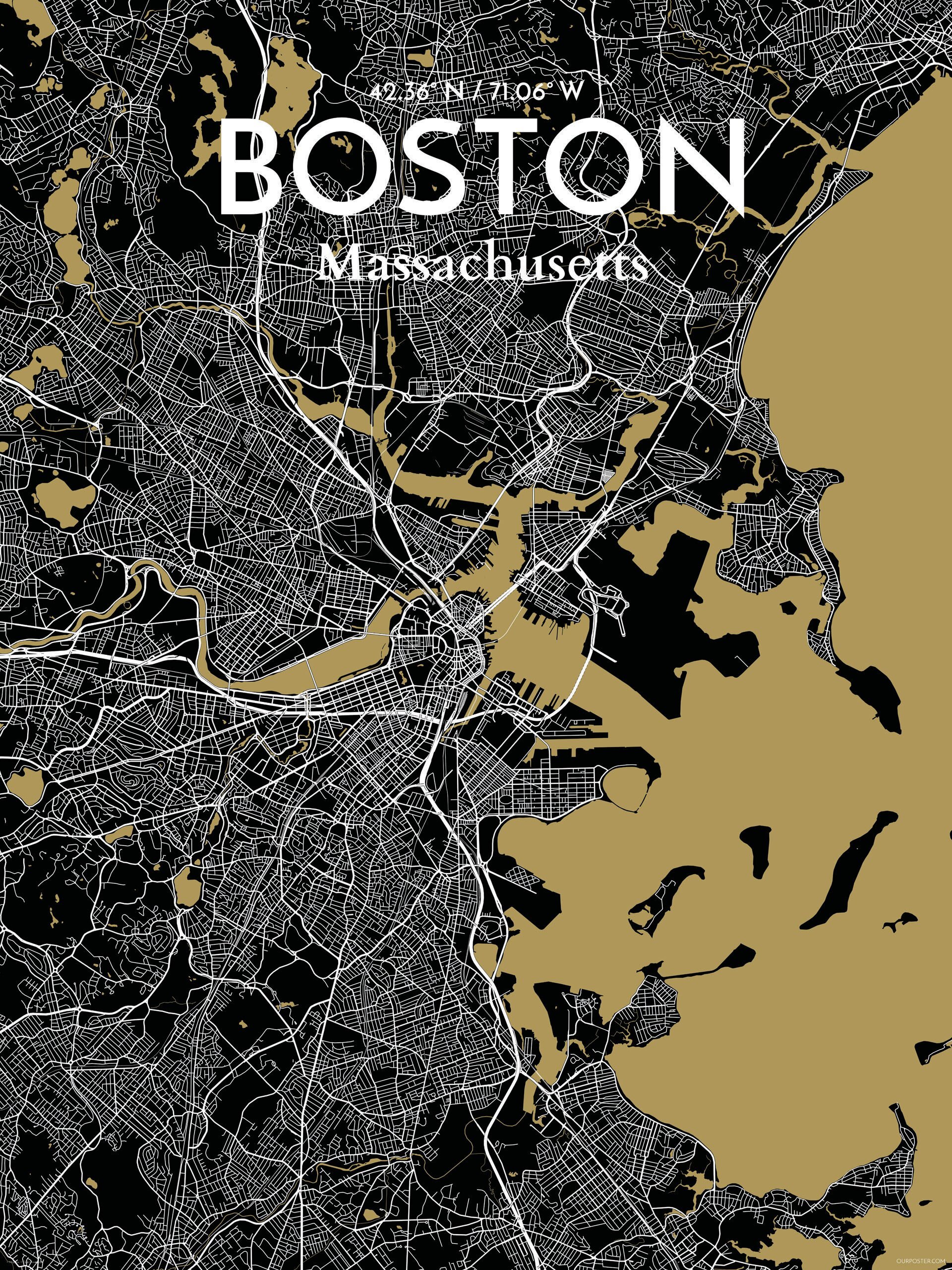 Ourposter Com Boston City Map Graphic Art Print Poster In Luxe